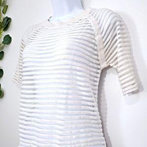 Kate Spade Saturday White Striped Sheer Sweater